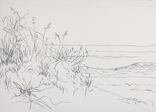 Casey Chalem Anderson, Bridgehampton Ocean Road, Ink drawing on paper, 2017, 11 X 14 inches framed