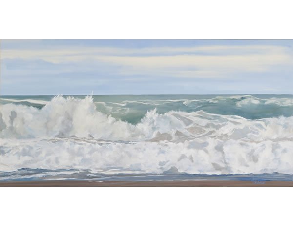 Casey Chalem Anderson,  Wild Ocean, 2017, Oil on canvas, 30 X 60 inches