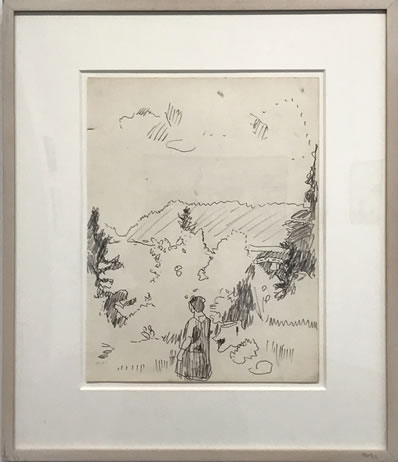 Fairfield Porter, (1907-1975),Figure, Great Spruce Head Island, 1968, Ink on paper, 14 X 10 5/8 inches, Signed by AEP lower left GSHI