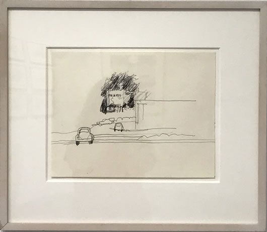 Fairfield Porter, (1907-1975), Study for The Parking Lot, c1965, Ink on paper, 9 X 11 ¾ inches