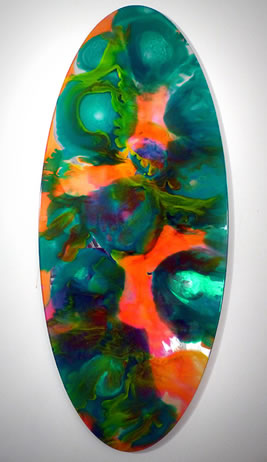 John Monti - Mirror Pour Ellipse 11 (green), 2014, Pigmented urethane rubber on glass mirror, 55 h x 23.5 w x .75 d inches
