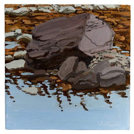 Neil Welliver, (1929-2005), Study for Purple Boulder, 1990, Oil on linen, 14 x 14 inches, Signed lower right, (BP#NW-7881)